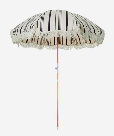 Premium Beach Umbrella - Vintage Black Stipe