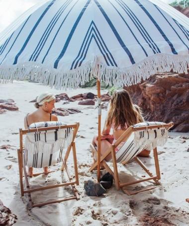 Premium Beach Umbrella - Vintage Black Stipe