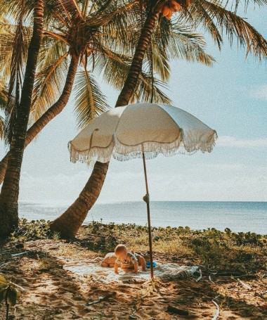 Premium Beach Umbrella - Antique White Vintage