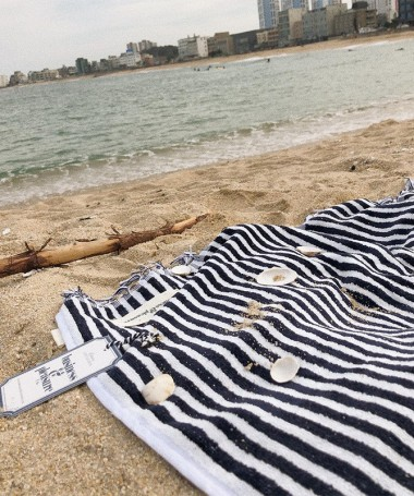 Beach Towel - Navy Stripe -